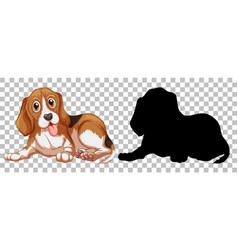 Beagle dog and its silhouette vector