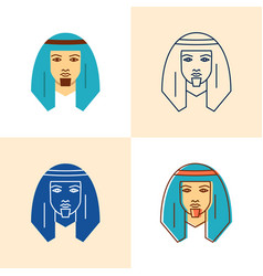 bedouin man icon set in flat and line style vector image
