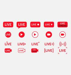 big set live streaming icons vector image