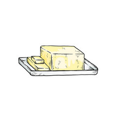 block yellow butter - isolated sketch drawing vector image