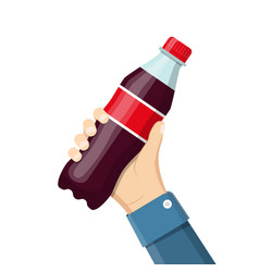 bottle of soda hold in hand vector image