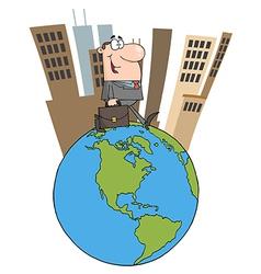 Business Man Walking Around Globe vector