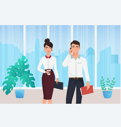 business people stand in office interior young vector image