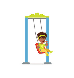 Cartoon little black girl riding on swing and vector