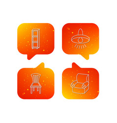 Chair ceiling lamp and armchair icons vector