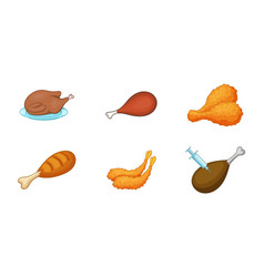 chicken icon set cartoon style vector image