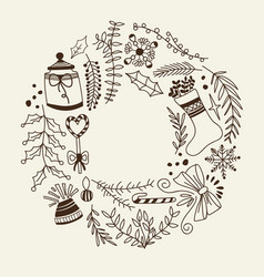 christmas design decorative elements doodle vector image