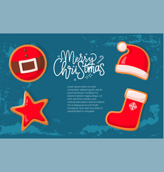 christmas holiday banner gingerbread cookies vector image
