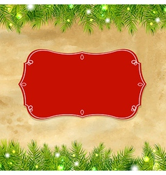 Christmas Tree Frame With Label vector