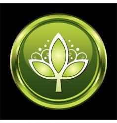 Chrome leaf button vector