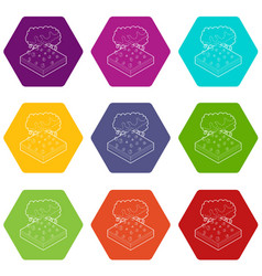 Cloud and hail icons set 9 vector