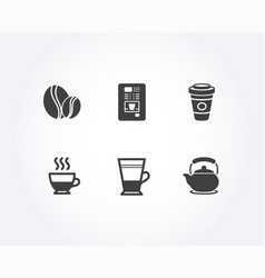Coffee beans takeaway coffee and doppio icons vector