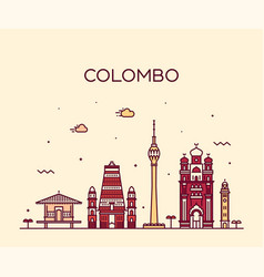 Colombo skyline sri lanka linear style vector