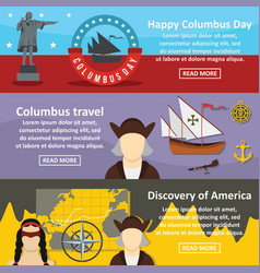 Columbus day banner horizontal set flat style vector