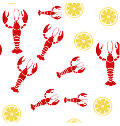 crayfish lemon seamless white background vector image