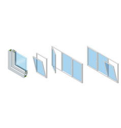Cross section through a window pane pvc profile vector