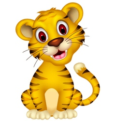 cute baby tiger sitting vector image