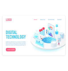 digital and internet technology landing page vector image