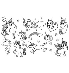 doodle style hand drawn unicorn set isolated vector image