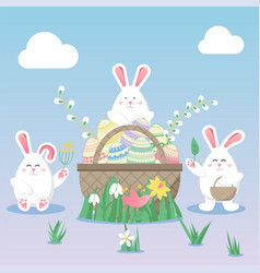 Easter with egg bunny rabbit and flower spring vector