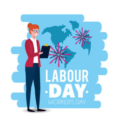 Elegant businesswoman to labour day holiday vector