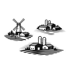 Farm farming label set farmhouse windmill vector