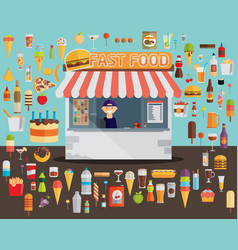 Fast food with stall flat vector