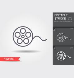 Film reel line icon with editable stroke vector