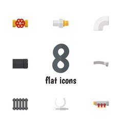 Flat icon plumbing set of heater plastic vector