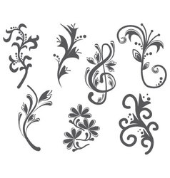 Floral and decorative vintage design elements vector image