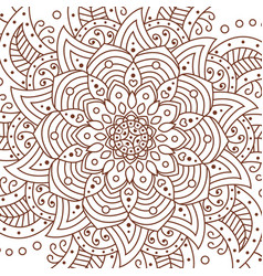 Flower mandala decorative elements coloring book vector