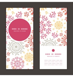 Folk floral circles abstract vertical round frame vector