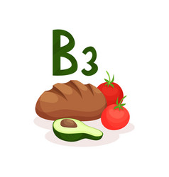 fresh red tomatoes rye bread and half of avocado vector image
