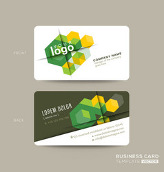 Green business card design with isometric cube vector