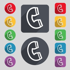 handset icon sign A set of 12 colored buttons and vector image
