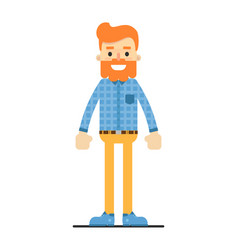 Handsome redheaded bearded hipster character vector