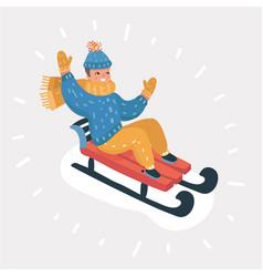 happy child sledding vector image