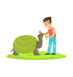 happy little girl feeding with grass a huge turtle vector image