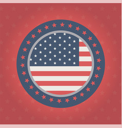 happy memorial day badge flag frame stars red vector image