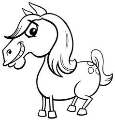 Horse or pony farm animal character coloring book vector