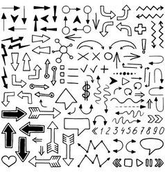 huge set hand drawn elements vector image