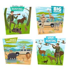 Hunters hunting animals and ducks guns riffles vector