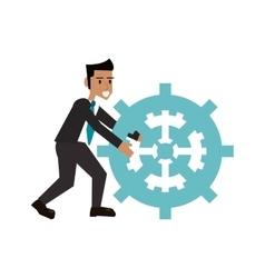 Isolated businessman avatar with gear design vector