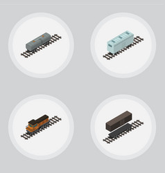 Isometric railway set of railroad carriage train vector