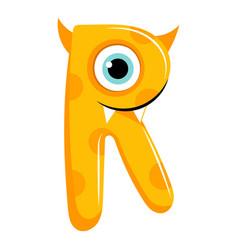 Kids cartoon alphabet cartoon cheerful letter r vector