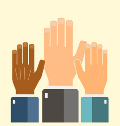 leadership concept hands connecting vector image
