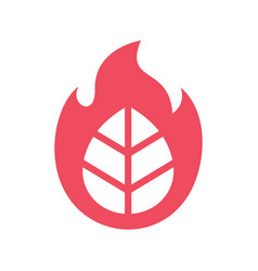 Leaf and fire flame logo icon design template vector