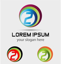 Logo number 2 company design template vector