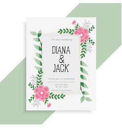 lovely floral wedding card invitation design vector image