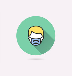 man face with mask icon for graphic and web design vector image